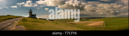Belle Tout Lighthouse on the Seven Sisters cliffs, East Sussex, UK - Stock Photo