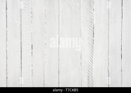 White long painted wooden planks table texture background flat lay top view - Stock Photo