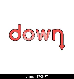 Vector icon concept of red down word with arrow moving down. - Stock Photo