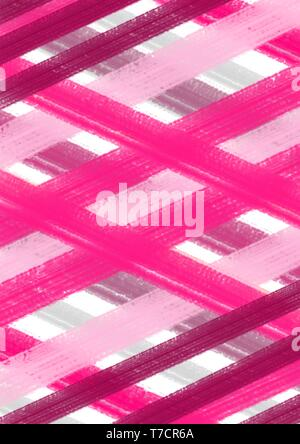 Pink stripes and modern lines in pale pink and dark color. Modern art painting. - Stock Photo