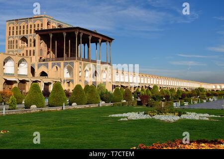 Ali Qapu Palace  is a grand palace in Isfahan on Naqsh-e Jahan Square in Isfahan (Esfahan), Iran - Stock Photo