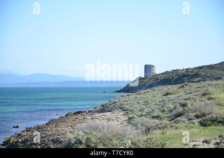 Tharros and San Giovanni tower - Stock Photo