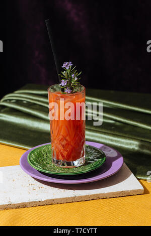Bloody Mary is a cocktail containing vodka, tomato juice, and combinations of other spices and flavorings including Worcestershire sauce, hot sauces, - Stock Photo