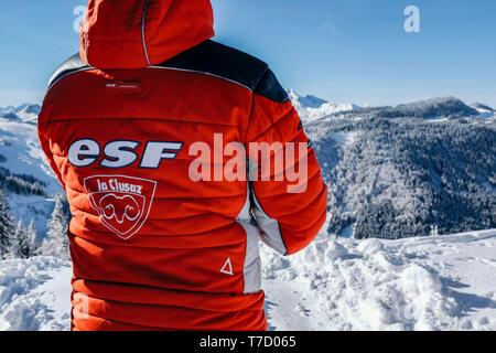 French ski school ESF ski instructor, ski resort of La Clusaz (central-eastern France) - Stock Photo