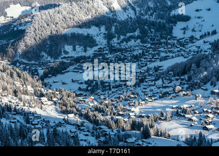 La Clusaz (eastern France): the village covered in snow - Stock Photo