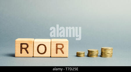 Wooden blocks with the word ROR. Rate of return. The level of profitability or loss of business. Financial ratio. Return on investment / capital. Repo - Stock Photo