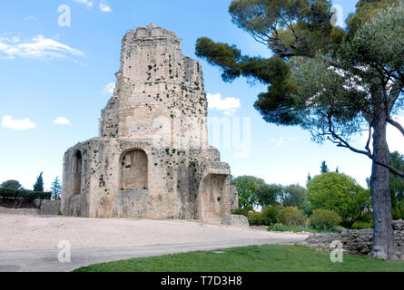 Historic monument, Tour Magne, Magne Tower, in the Fountain Gardens, Nîmes, France. No people - Stock Photo