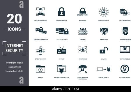 Internet Security icons set collection. Includes simple elements such as Face Recognition, Online Privacy, Password, Cyber Security, Data Encryption,  - Stock Photo