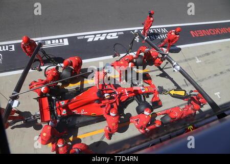 Ferrari Pit wheel change British Grand Prix 2018 - Stock Photo