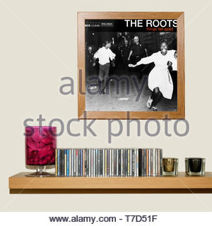 The Roots, Things Fall Apart album, CD Collection and framed Album cover, England - Stock Photo