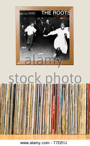 The Roots, Things Fall Apart album, LP Collection and framed album cover England - Stock Photo