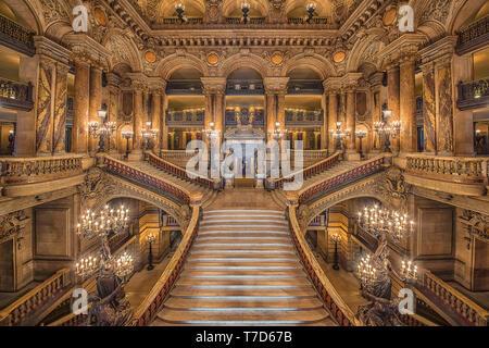Stairway inside the Palais Garnier, opera house in Paris - Stock Photo