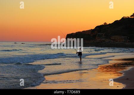Beach at Praia da Falesia in Portugal - Stock Photo