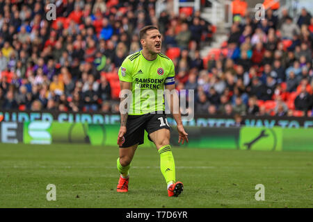 5th May 2019, Bet 365 Stadium, Stoke-on-Trent, England; Sky Bet Championship, Stoke City vs Sheffield United ; Billy Sharp (10) of Sheffield United celebrates Enda Stevens (03) of Sheffield United's goal    Credit: Mark Cosgrove/News Images  English Football League images are subject to DataCo Licence - Stock Photo