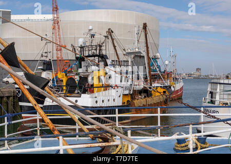 Pompey fishing fleet on Spice Island. A number of ocean going trawlers alongside in Camber Docks Portsmouth, Hampshire, England. - Stock Photo