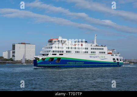 Wightlinks new Hybrid Energy ship Victoria of Wight leaving Portsmouth harbour. - Stock Photo