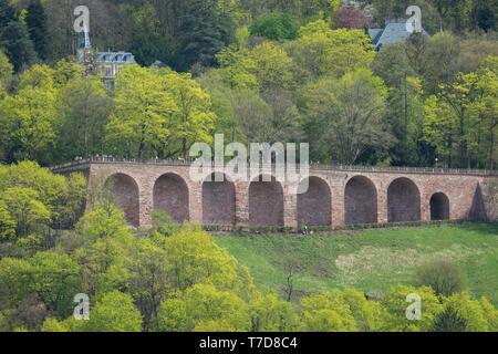 old castle, heidelberg, odenwald, Rhein-Neckar region, Baden-Wuerttemberg, neckar valley, germany - Stock Photo