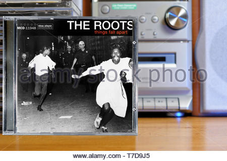 The Roots, Things Fall Apart album, CD music collection cases, England - Stock Photo