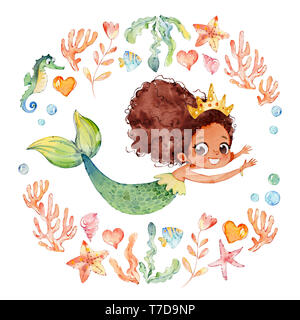 African American Baby Watercolor Mermaid Surrounded by Frame of sea elements, Sea Horse, corals, bubbles, seashells, anchor, seaweeds. Ocean Kit. Youn - Stock Photo