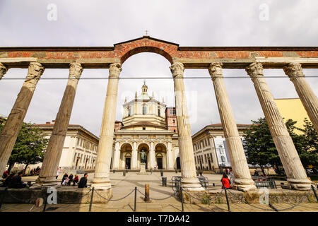Front view of The Basilica of San Lorenzo Maggiore and 'Colonne di San Lorenzo'  in Milan, Lombardy, Italy.