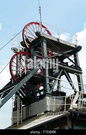 National Coal Mining Museum Caphouse Colliery pithead winding gear headstocks Overton Wakefield - Stock Photo