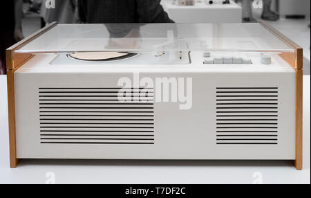 Iconic 20c Braun early white metal and beech radiogram with acrylic lid designed by Dieter Rams - Stock Photo