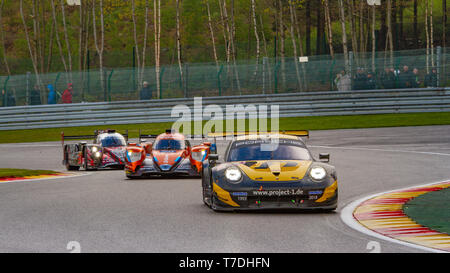 Team Project 1 Porsche 911 leads through Les Combes chicane. WEC Total 6 Hours of Spa-Francorchamps 2019 - Stock Photo