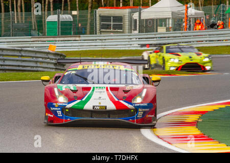 AF Corse Ferrari 488 leads through Les Combes chicane. WEC Total 6 Hours of Spa-Francorchamps 2019 - Stock Photo