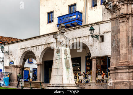 Cusco, Peru - April 2, 2019: View at the Statue of Juan B Zubiaga in a Cusco plaza, Peru - Stock Photo