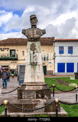 Cusco, Peru - April 3, 2019: View at the Statue of Juan B Zubiaga in a Cusco plaza, Peru - Stock Photo