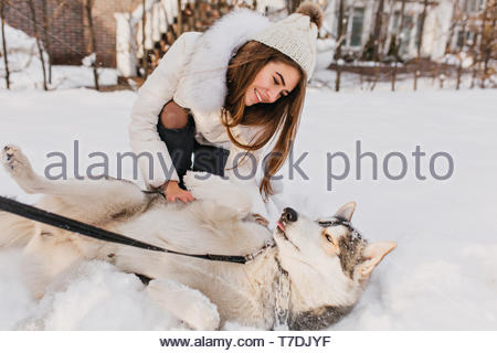 Lazy dog lying on the snow while beautiful girl in woolen hat sitting beside. Outdoor portrait of excited woman in white attire looking with love at her husky pet. - Stock Photo