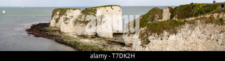 Hi-res panorama Old Harry Rocks. Chalk formations, stack and stump at. Handfast Point on the Isle of Purbeck, Dorset, UK. - Stock Photo
