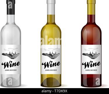 Wine bottle with hand-drawn label retro vintage design template set. Alcohol industry vineyard wine grapes hills farm emblem. Monochrome romantic rura - Stock Photo