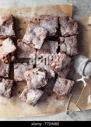 Chocolate and Macadamia Nut Brownies - Stock Photo