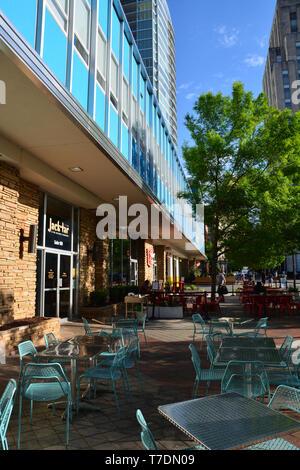 A sidewalk cafe located in downtown Durham North Carolina. - Stock Photo