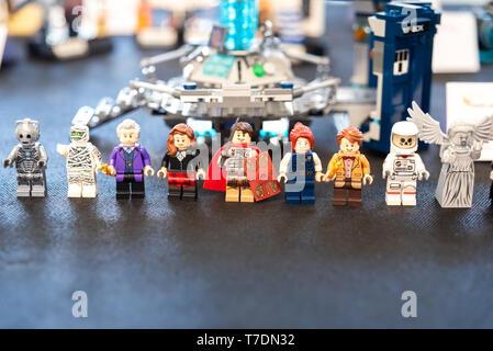 Valencia, Spain - April 3, 2019: Lego figures of superhero comic characters. - Stock Photo