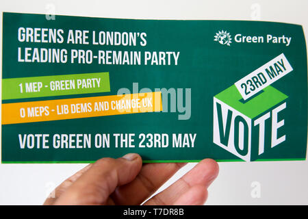 London, UK, UK. 6th May, 2019. Green Party's European Parliament election campaign leaflet. Britain must hold European elections on 23rd May 2019 or leave the European Union with no deal on 1st of June after British Prime Minister Theresa May delayed Brexit 31st October 2019. Credit: Dinendra Haria/SOPA Images/ZUMA Wire/Alamy Live News - Stock Photo