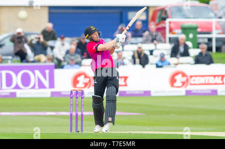 Brighton, UK. 7th May 2019 - Phil Salt of Sussex Sharks batting during the Royal London One-Day Cup match between Sussex Sharks and Glamorgan at the 1st Central County ground in Hove. Credit : Simon Dack / Alamy Live News - Stock Photo