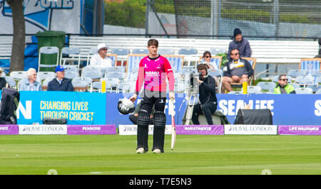 Brighton, UK. 7th May 2019 - Sussex Sharks batter George Garton waits to hear the third umpires decision of his dismissal during the Royal London One-Day Cup match between Sussex Sharks and Glamorgan at the 1st Central County ground in Hove. Credit : Simon Dack / Alamy Live News - Stock Photo
