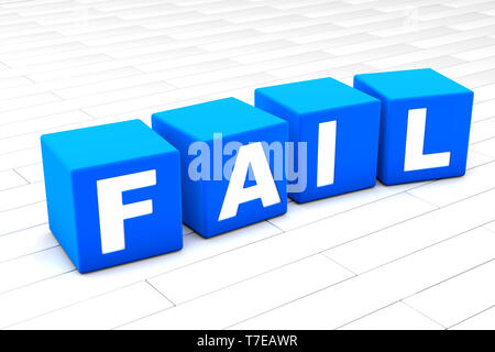 3D rendered illustration of the word Fail made of cubes. - Stock Photo