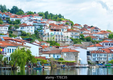 Ohrid old city, Lake Ohrid, Macedonia - Stock Photo