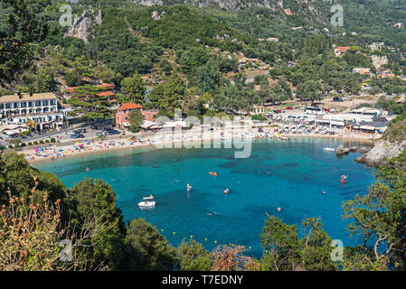 Paleokastritsa, beach resort, Corfu Island, Ionian Islands, Mediterranean Sea, Greece - Stock Photo