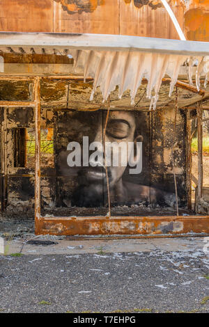 A building gutted by wildfire has a large face painted on an inside wall, looking out to the street, in the town of Paradise, California the site of t - Stock Photo