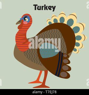 Colorful decorative outline funny colorful turkey standing in profile.  Farm animals and birds vector cartoon flat illustration in different colors is - Stock Photo