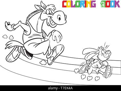 The illustration shows the horse and the hare, which deals sports running. Is made a black outline for a coloring book. - Stock Photo