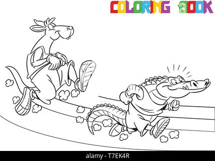 The illustration shows the kangaroo and the crocodile, which deals sports running. Is made a black outline for a coloring book. - Stock Photo