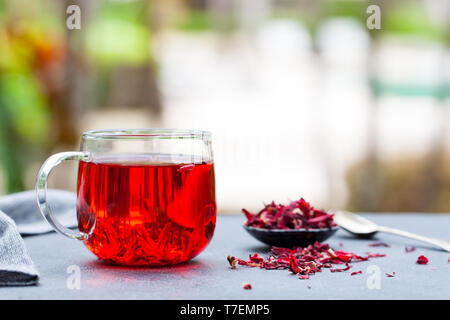 Hibiscus tea in glass cup. Grey background. Copy space. Outdoor background. - Stock Photo