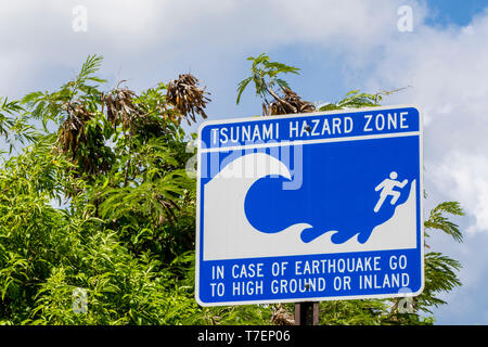 Tsunami warning evacuation sign, Sandy Point National Wildlife Refuge, St. Croix, US Virgin Islands. - Stock Photo
