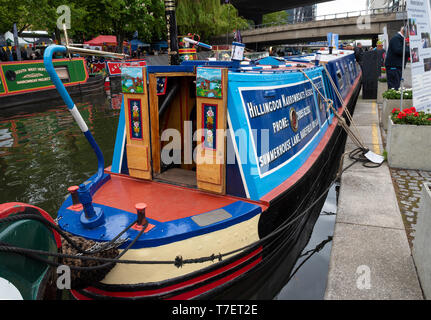 Inland Waterways Canalway Cavalcade Festival 2019, Little Venice, Paddington, London, UK. Over 100 narrowboats took part, attracting large crowds. - Stock Photo