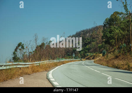 Deserted curve road through hilly landscape with dry bushes and green trees near Castelo Branco.  A former bishopric in central Portugal. - Stock Photo
